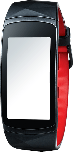 Gear Fit2 Pro in red seen from the front