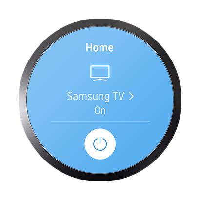Image of Samsung Connect screen glowing blue that says Samsung TV on