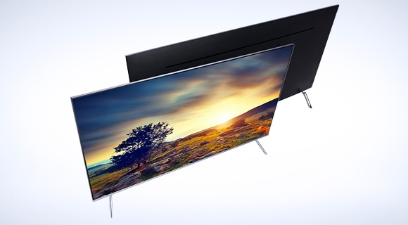 Samsung LEDs a top view of two extra-slim tvs