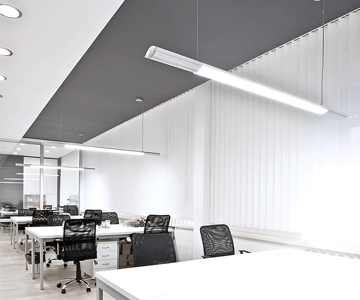 Samsung LEDs a comfort library lighted up with uniform linear lights