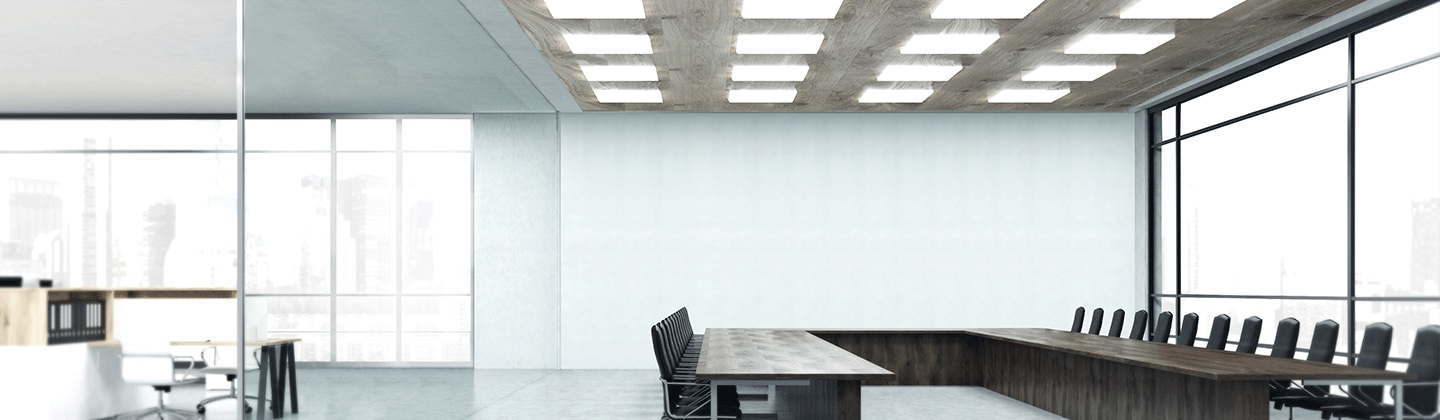 Samsung LEDs a white conference room lighted up with white mid-power lights (key visual)