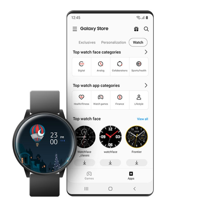 A GUI screen showing various Galaxy Watch face themes available in the Galaxy Store.