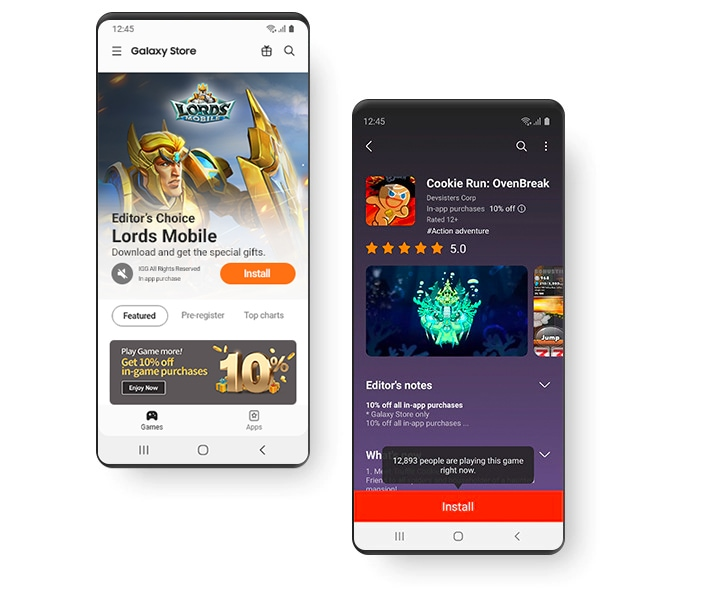 Two smartphones displaying different Galaxy Store screens. One screen displays the MMORPG, Lords Mobile, install screen from the Galaxy Store Featured page, the other displays the game, Cookie Run: Ovenbreak, from its install screen from the Galaxy Store.