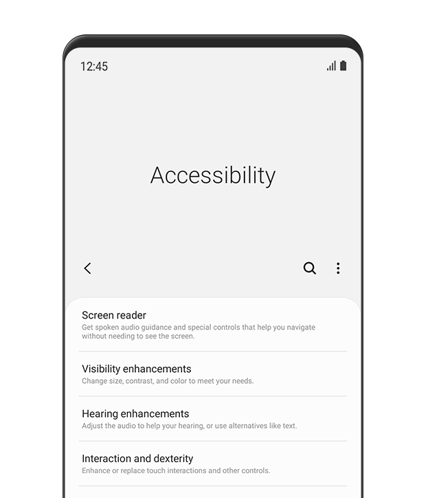 The 'Accessibility' menu is displayed. This includes options for 'Screen reader', 'Visibility enhancements', 'Hearing enhancements' and 'Interaction and dexterity'.