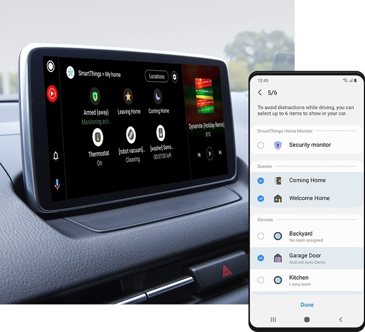 "On the left, an image of a car infotainment system connected to SmartThings and showing the ""My Home"" menu. To the right, a Galaxy smartphone shows the Android Auto settings page with various command options. The ""Security monitor"" command under ""SmartThings Home Monitor"" is disabled. ""Coming Home,"" and ""Welcome Home"" commands are enabled under ""Scenes."" Out of ""Backyard,"" ""Garage Door,"" and ""Kitchen"" options under ""Devices,"" only the ""Garage Door"" option is enabled."