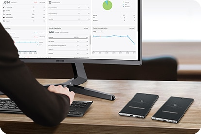 A desktop scene with a curved Samsung monitor showing graphs and charts. Next to the monitor is two Galaxy Note10+ phones being secured by Knox Manage.