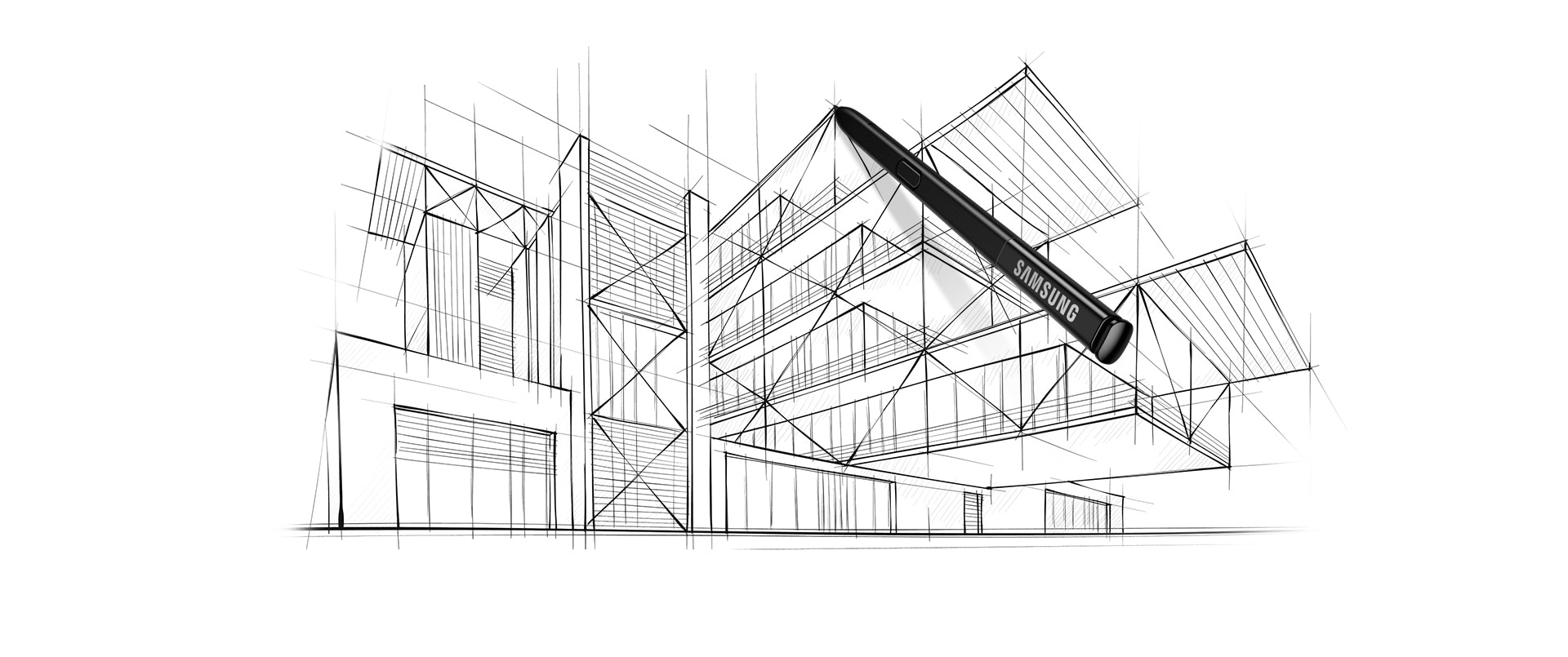 Image of a S Pen over an architectural line drawing.