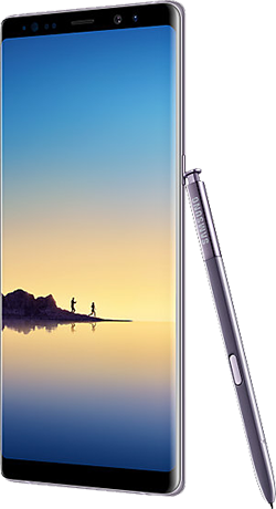 Angled right view of Galaxy Note8 in Orchid Gray