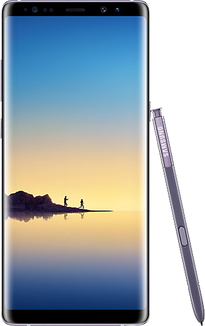 Front view of Galaxy Note8 in Orchid Gray
