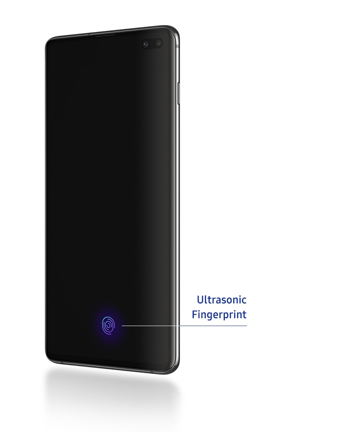 Galaxy S10 plus seen at a three-quarter profile from the right with the Ultrasonic Fingerprint Sensor icon appearing on-screen.