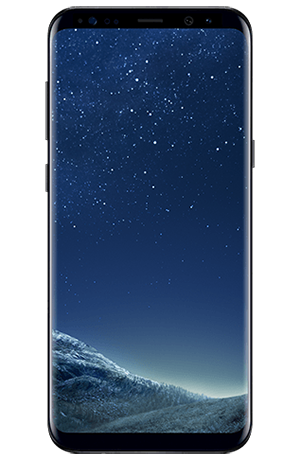 Front view of Galaxy S8+ in Midnight Black