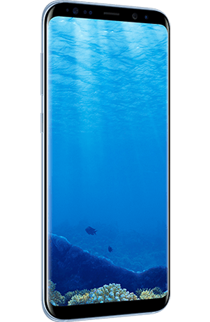 Angled left view of Galaxy S8+ in Coral Blue