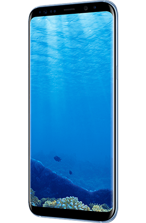 Angled right view of Galaxy S8+ in Coral Blue