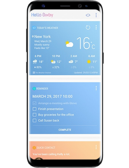 Galaxy S8 on-screen example of Bixby Home with weather and reminder cards showing before work