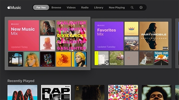 The For You GUI showing a New Music Mix and Favorites Mix section.