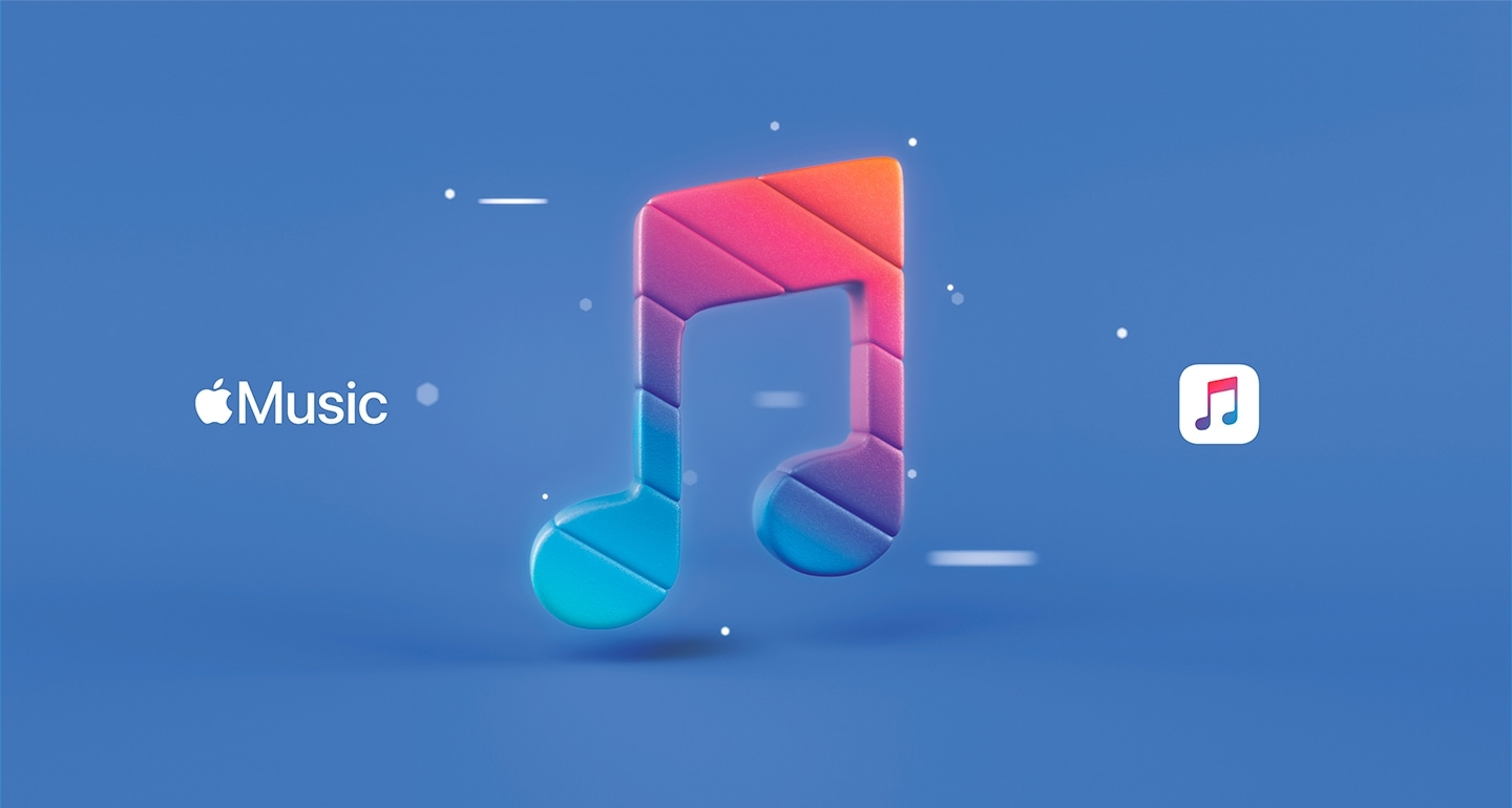 Three different Apple Music logos on a blue background. Apple Music's music note logo in the middle is enlarged in 3D.