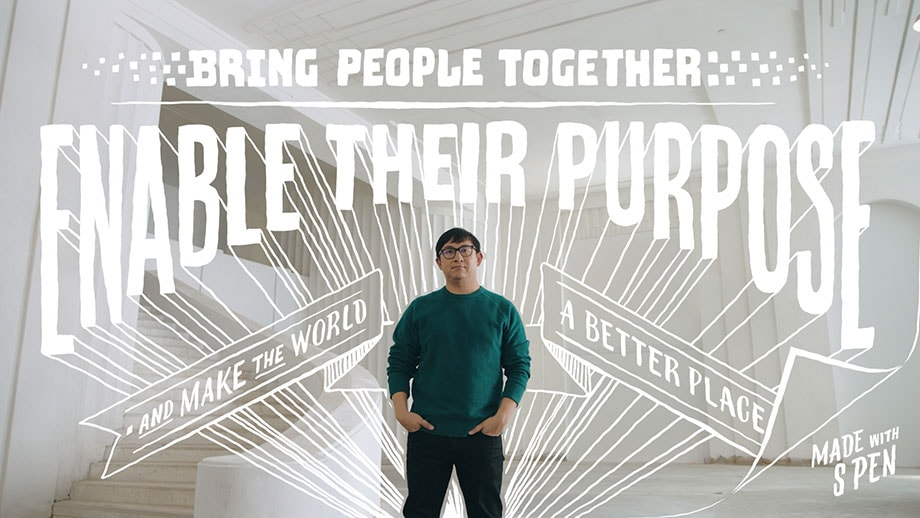 "The Co-Founder of Twitch and Gold House standing with his hands in his pockets while facing the camera. There is handwritten script overlayed on top of the photo and all around him that reads: ""Bring people together. Enable their purpose and make the world a better place. Made with S Pen""."