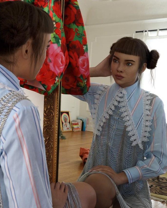 Lil Miquela in what looks like her bedroom, checking herself out in the mirror