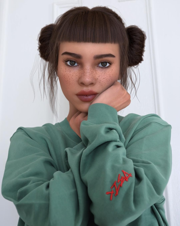 Lil Miquela with a contemplative look, cupping her face while staring directly into the camera