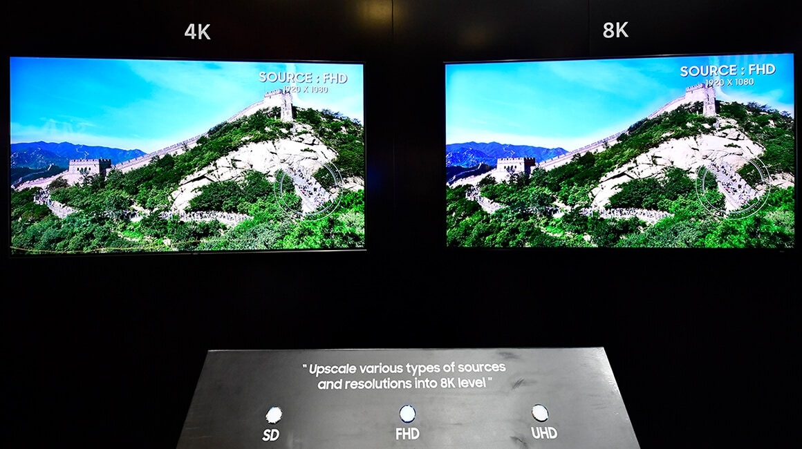 Visitors can get a sense of comparing the 8K quality resolution at the two screens.
