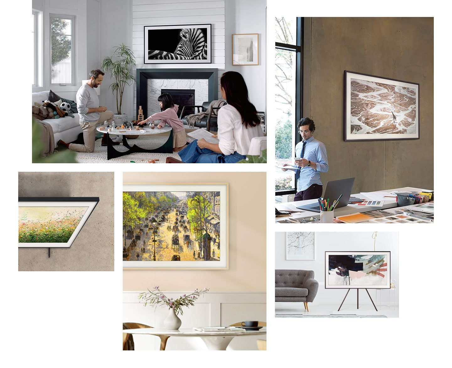 Samsung The Frame TV makes any space, from your living room to your office, look like a gallery because it goes well with any interior.