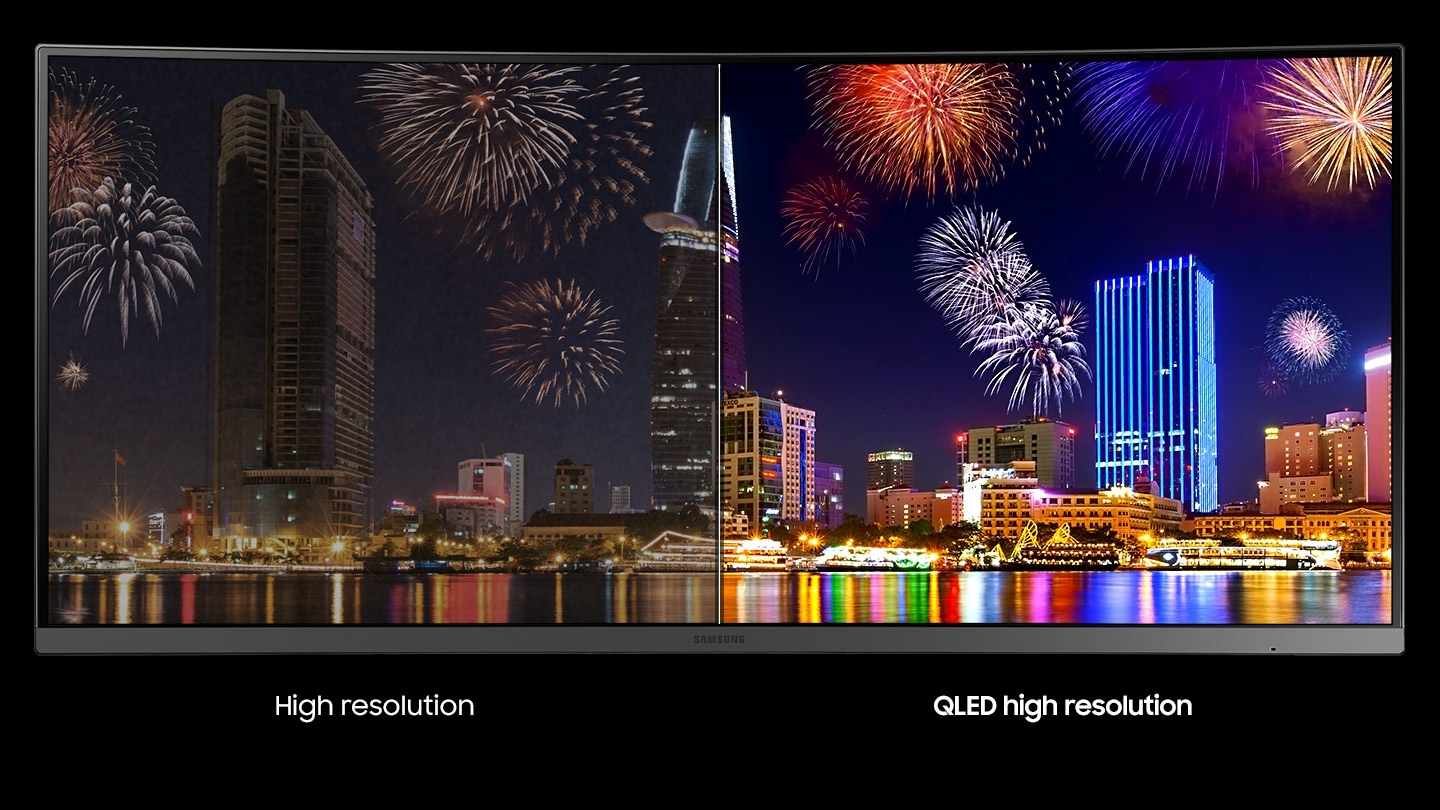 This image plays fireworks against the backdrop of the night view of the image building depicting the quantum dots technology. It also writes text that shows a comparison of typical high resolution and QLED high resolution.