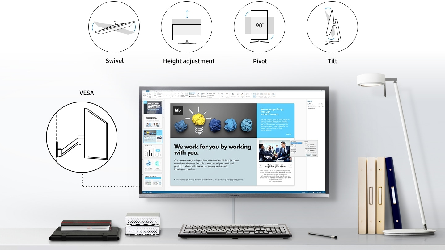 This is an image that describes the usability of the monitor, which shows the monitor on the desk and describes its inclination, rotation, and pivot. Additionally, icon images and text marks indicate Swivel, Height adjustment, pivot, Tilt, and Vesa.