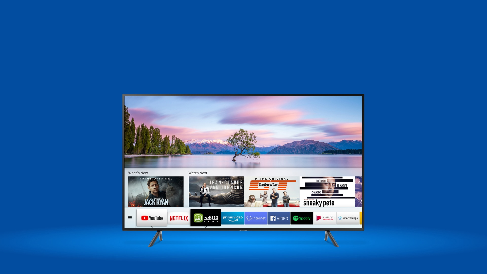Samsung TV on blue background.