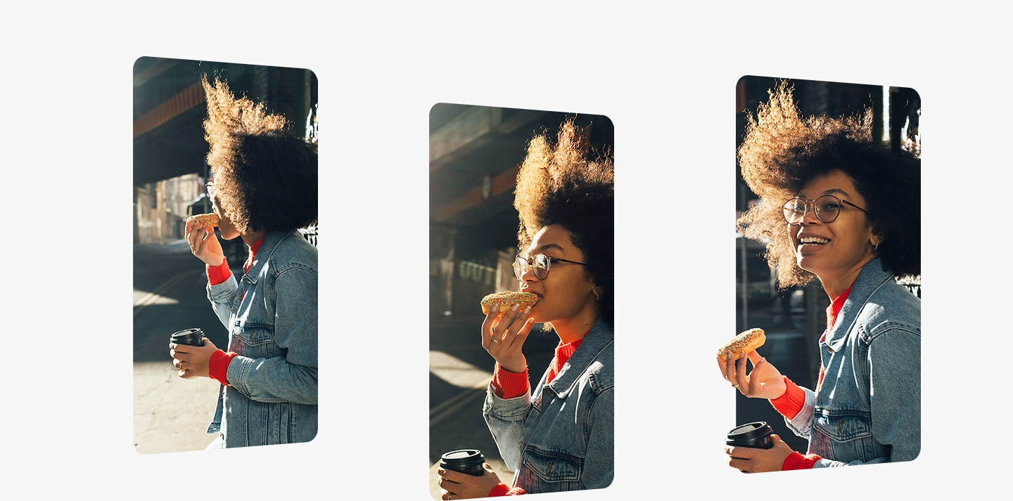Three photos captured by Galaxy A show the moment a woman turns around as she bites her donut.
