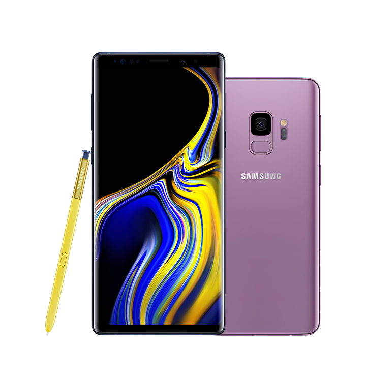 Ocean Blue Galaxy Note9 standing with a blue and yellow swirl design onscreen, and yellow S Pen leaning against it, next to a Lilac Purple Galaxy S9 seen from the rear