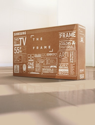 A box for The Frame is standing in the middle of a room.
