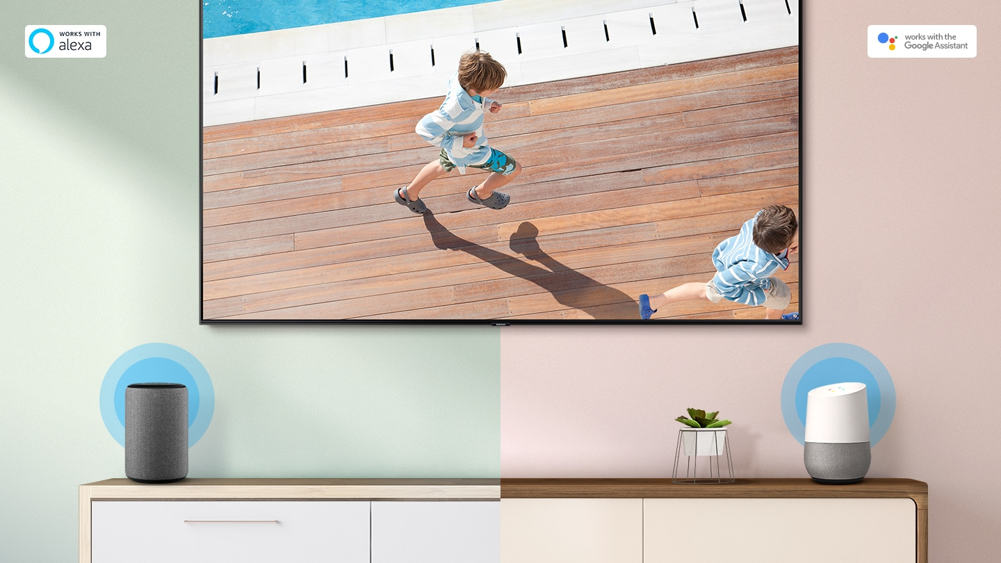 Google Assistant displayed on the tables, connected to a 2019 Samsung Smart TV. TV is showing that children is running.