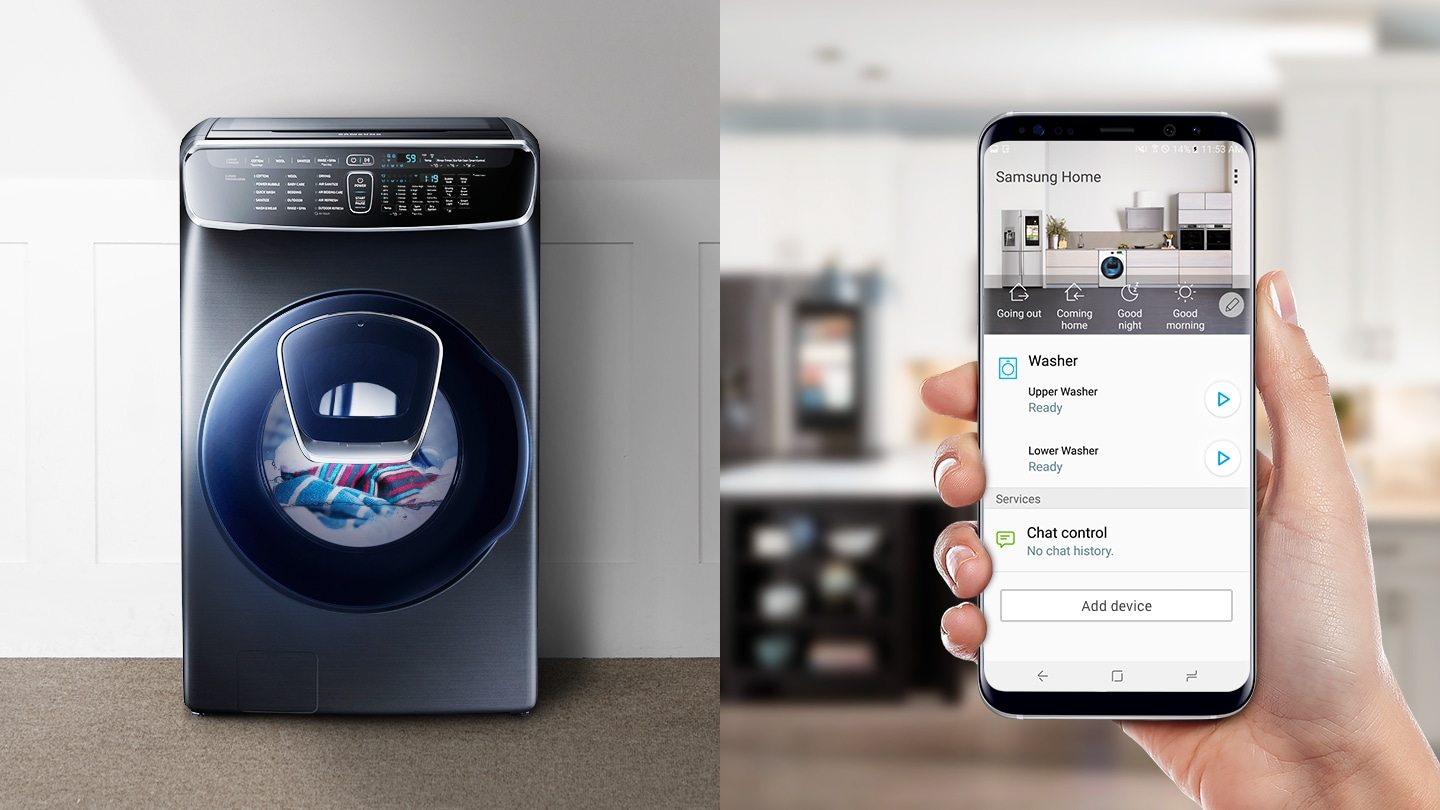 The FlexWash is running according to commands from the Samsung Smart Home mobile application. The Samsung Smart Home app allows you to start laundry, monitor remaining time, and check cycle completion.