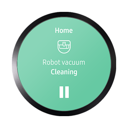 Samsung Connect GUI showing Robot vacuum controller with a play and pause button to stop or start robot vacuum