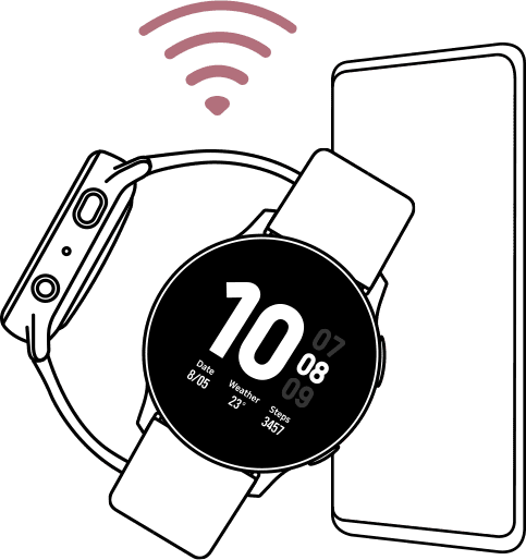 A line drawing of a smartphone next to a Galaxy Watch active2 watch with a faint signal icon just above indicating that the two devices are connected.
