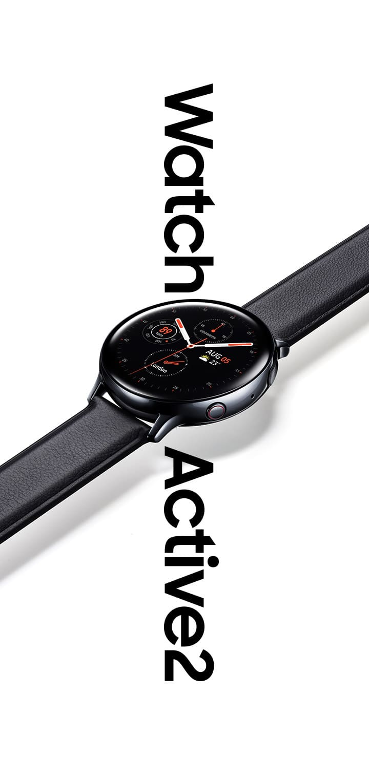 A stainless black Galaxy Watch Active2 with black leather strap that hangs over the words 'Watch Active 2' in large font below.