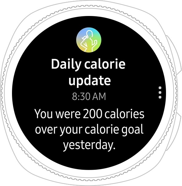 Gear Sport watch face showing daily calorie intake status