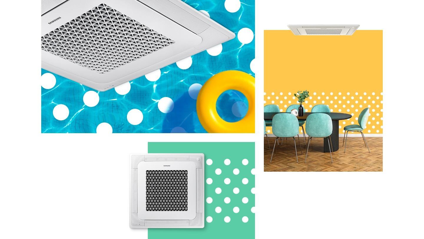 Samsung 4-way cassette AC with fast cooling function is in the background of the blue swimming pool, yellow color, and green color with white dot patterns. Especially, for the yellow background, Samsung 4way cassette air conditioner is hanging on the ceiling in the wide dining room.