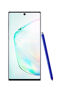 Galaxy Note10 in Aura Glow seen from the front with a white S Pen leaning against it and an abstract graphic onscreen.