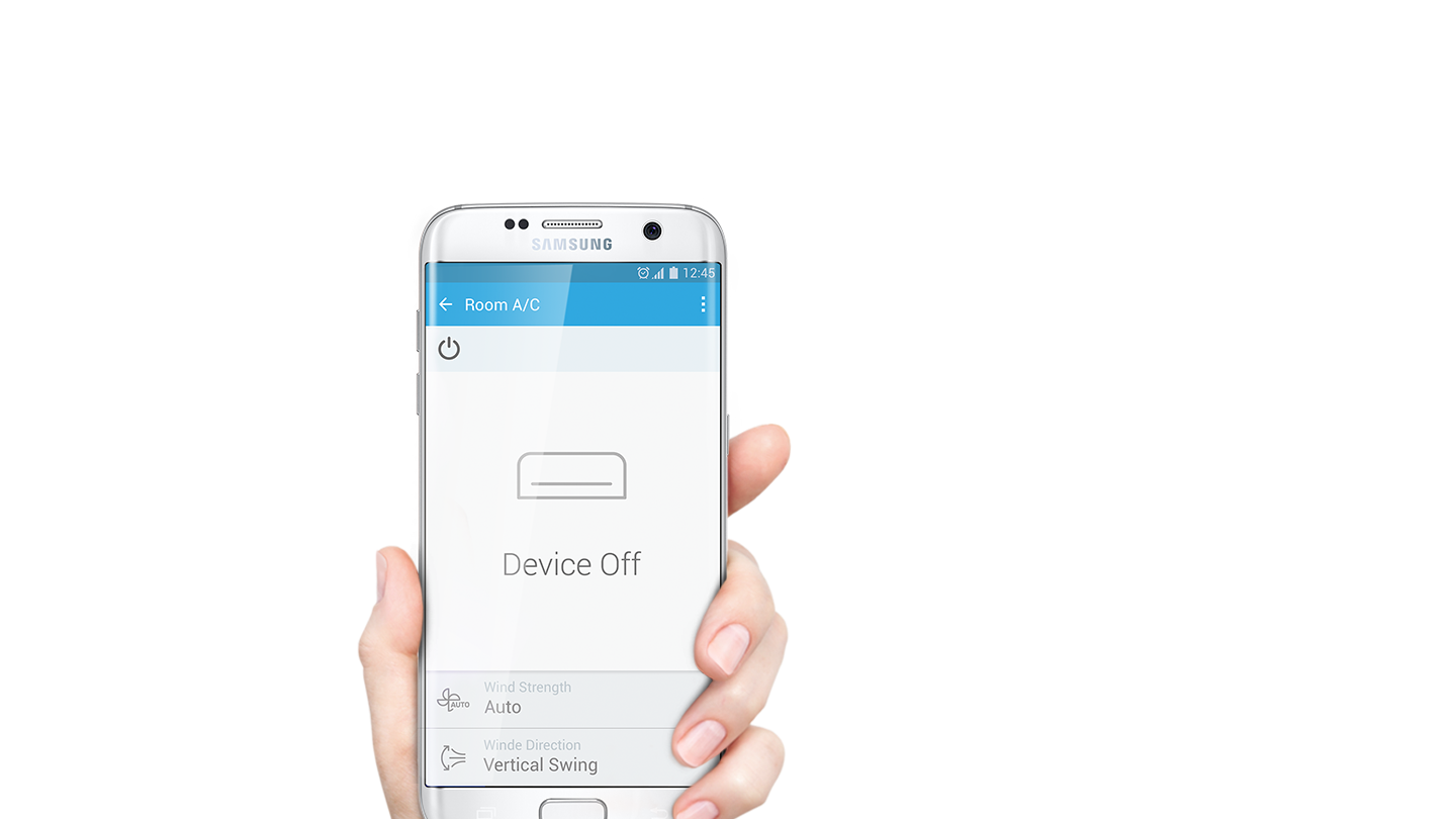 When user touches the power button of the smart home app, the air conditioner is turned on.