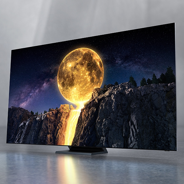 Samsung 2020 QLED TV which has complete Quantum Dot technology is being shown with the intensely shining moon on the screen.