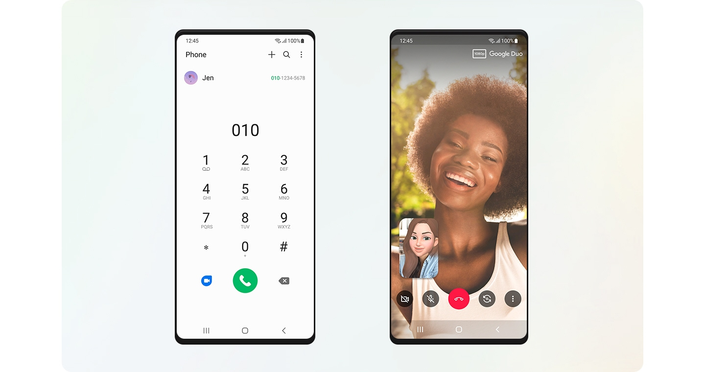 Two Galaxy devices side-by-side. The Galaxy screen on the left shows the Phone app with Jen's phone number popped up. The Galaxy screen on the right shows a Google Duo video call with Jen, implicitly, with the caller's face being expressed through AR effects.
