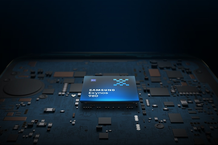 1 model of Samsung Exynos 980 in black and blue against a background shaped like a motherboard
