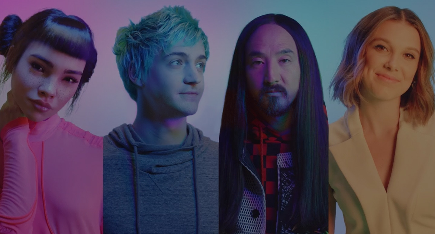 #TeamGalaxy group photo featuring (LTR): Lil' Miquela, Ninja, Steve Aoki and Millie Bobby Brown.