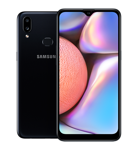 Back and front view of the Samsung Galaxy A10s in portrait mode.