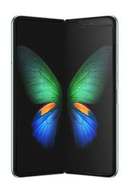 Galaxy Fold in Space Silver seen from the front unfolded, with a green, blue, and orange butterfly graphic on-screen.