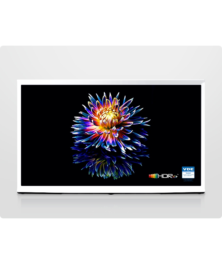 A Cloud White model of The Serif shows a colorful flower on a black screen with quantum dot technology. VDE certified and HDR 10+ certified logo appeared on the right corner of the TV screen.