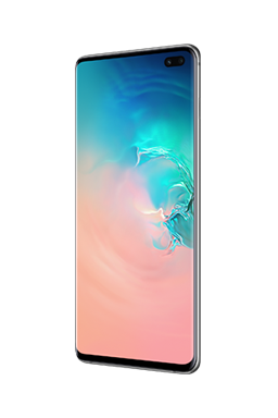 Galaxy S10 plus phone in Prism White, with an abstract coral and blue gradient graphic onscreen.