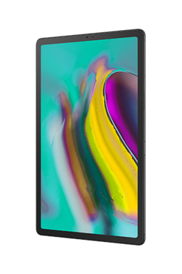 Galaxy S5e tablet in Black, with an abstract, multicolor graphic onscreen.