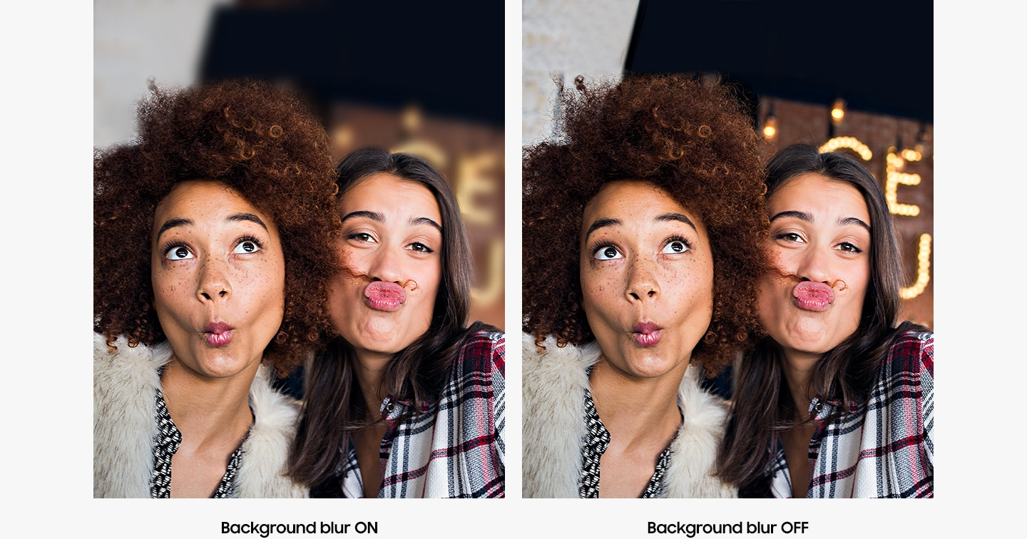 Two photos captured by Galaxy A of two women making silly faces show the difference when the depth camera's background blur is on and with the background blur is off.